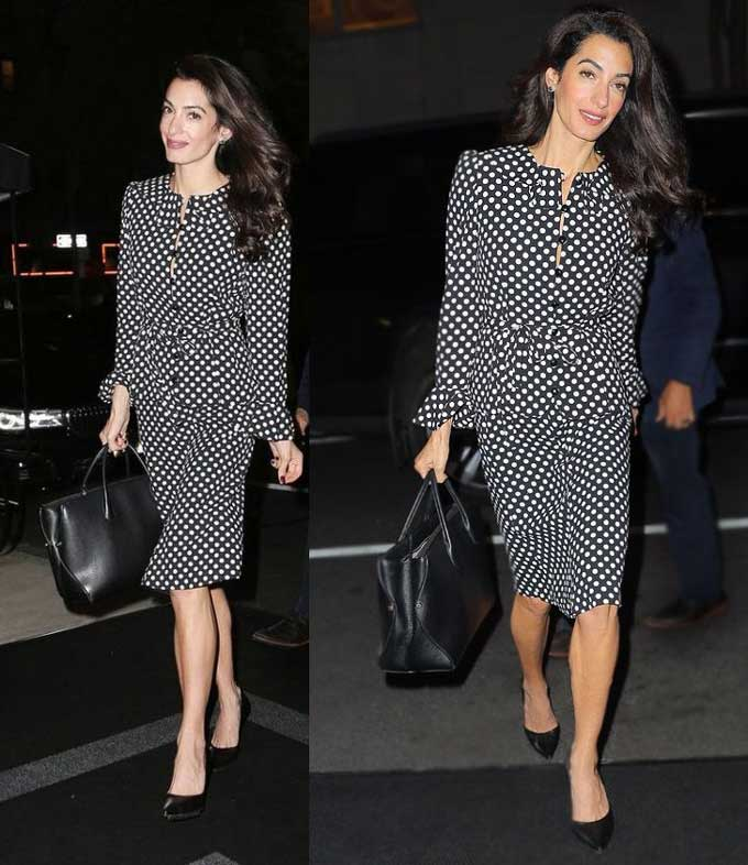 Образ Амалии Клуни - платье в горошек