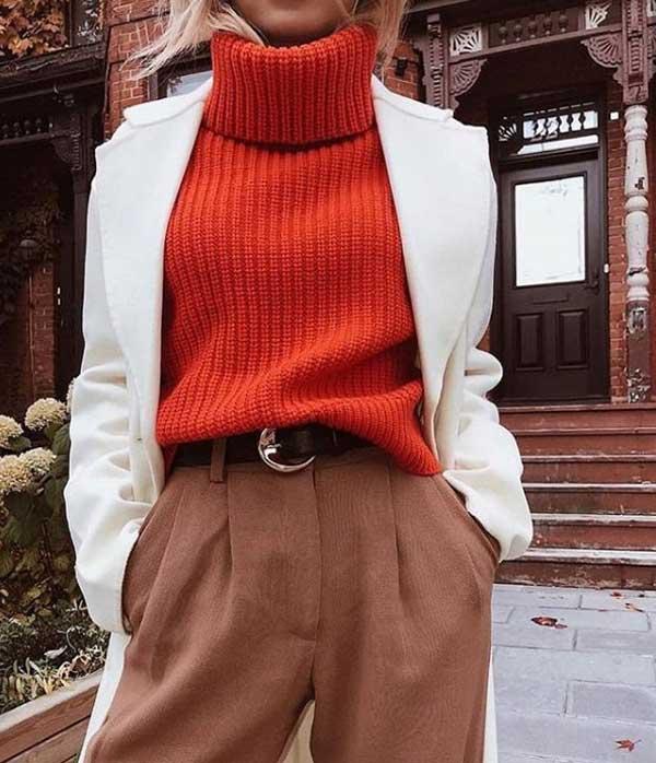 Коричневый в сочетании с оранжевым в одежде