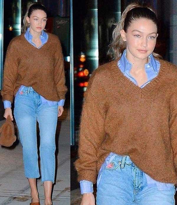 Коричневый в сочетании с джинсовой одеждой