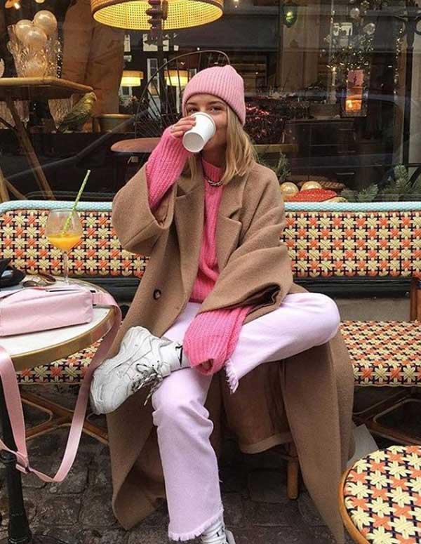 Коричневый цвет в одежде +розовый