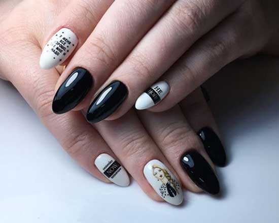 Надписи на ногтях на белом фоне