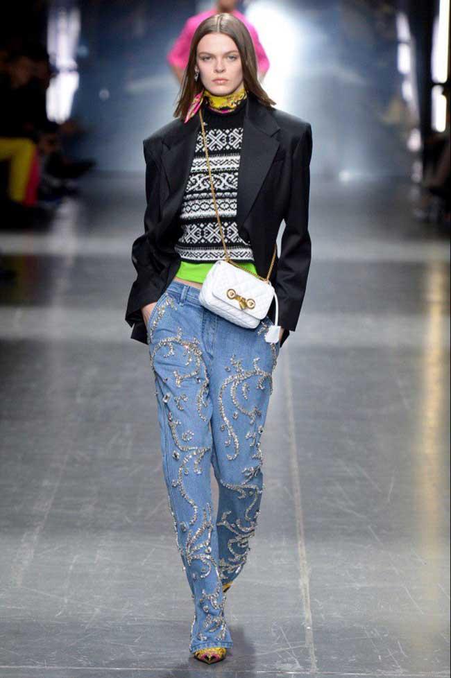 Модные джинсы 2019 с вышивкой, длиной в пол