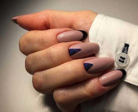 Black French, моделирование ногтей гелем, рисованный френч
