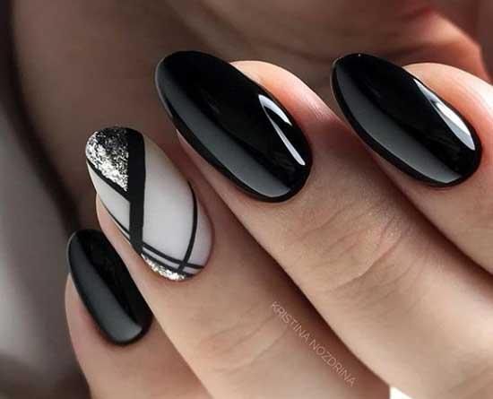 Черный цвет, френч и геометрия рисунок