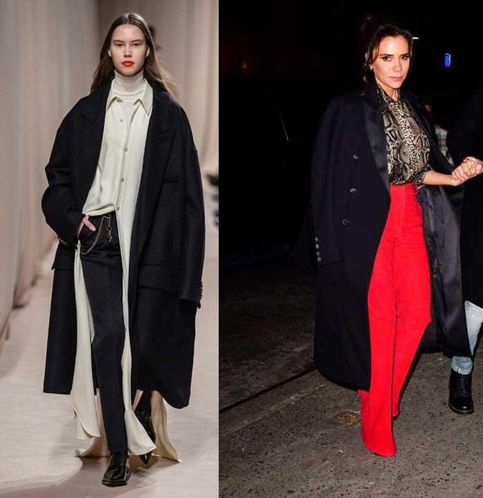 Модные черные пальто весна-осень 2019
