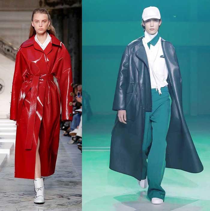 Модное кожаное пальто 2019