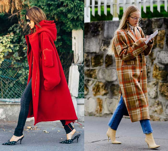 Модные пальто уличный стиль