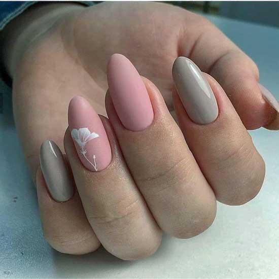 Серый+розовый + цветы маникюр