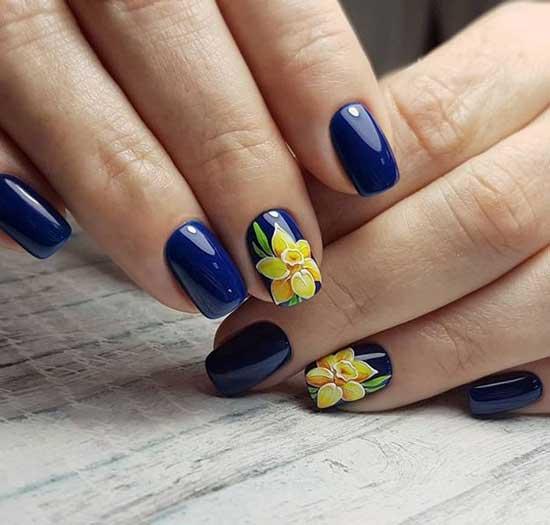 Цветы роспись на ногтях