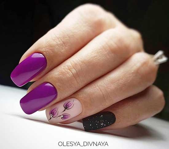 Фиолетовый тон и цветы в маникюре
