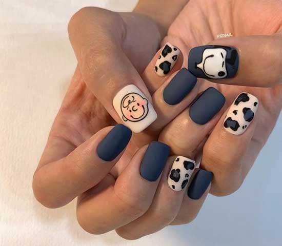 Имитация коровьей шкуры на ногтях