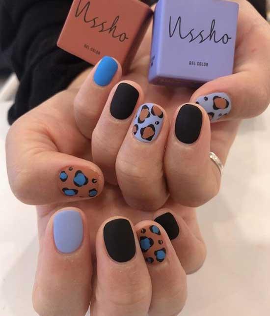 Разноцветный коровий принт на ногтях