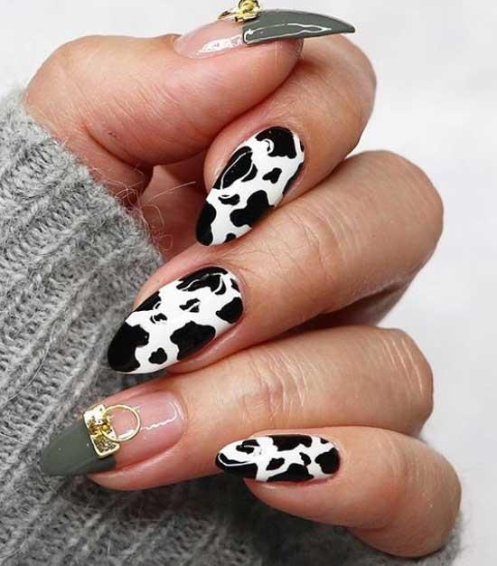 Интересный дизайн маникюр коровий принт