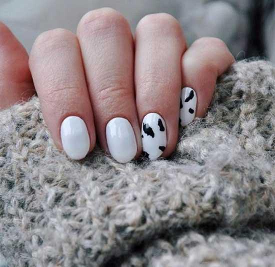 Черно-белый маникюр коровий принт