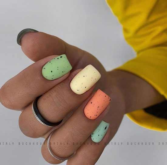 Разноцветный маникюр пастель