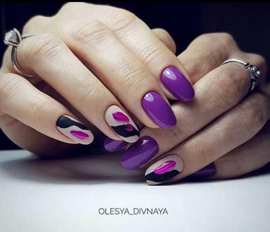 Модные ногти 2019-2020 фиолетовый цвет