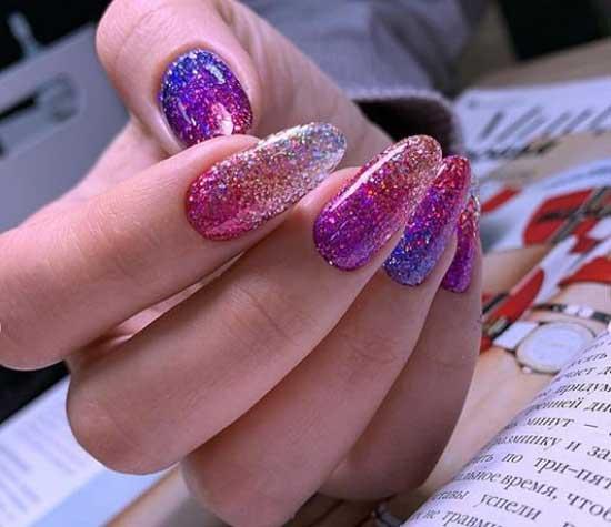 Яркие ногти с блестками картинки