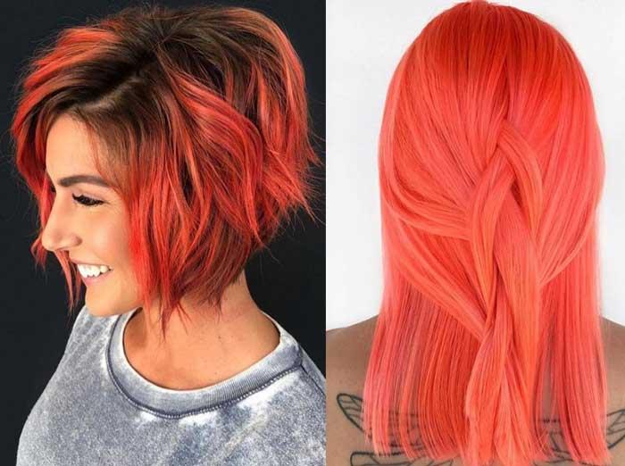 Яркое коралловое окрашивание волос