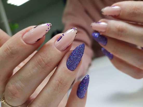 В стиле негатив спейс - маникюр острые ногти