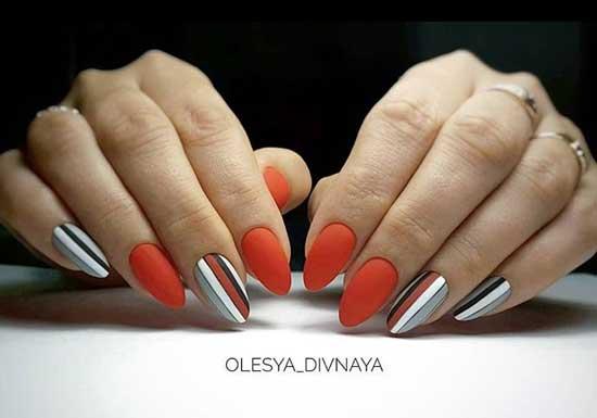 Матовая геометрия на острых ногтях