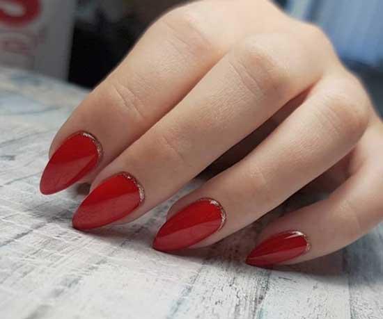 Красные острые ногти 2019-2020