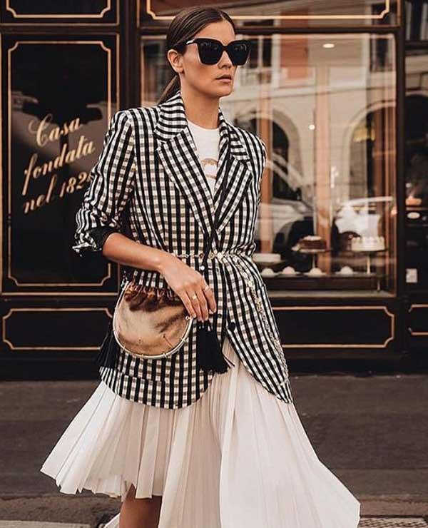 Плиссированная юбка с блейзером