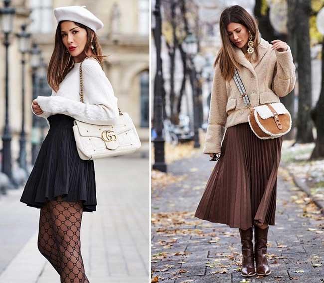 Короткие плиссированные юбки  с чем носить