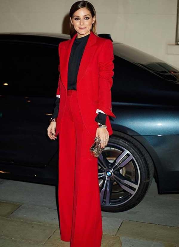 Оливия Палермо в красном костюме - образ 2019