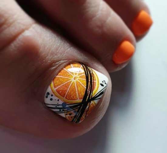 Педикюр с рисунком апельсином