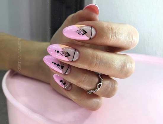 Лунный розовый маникюр с полосками