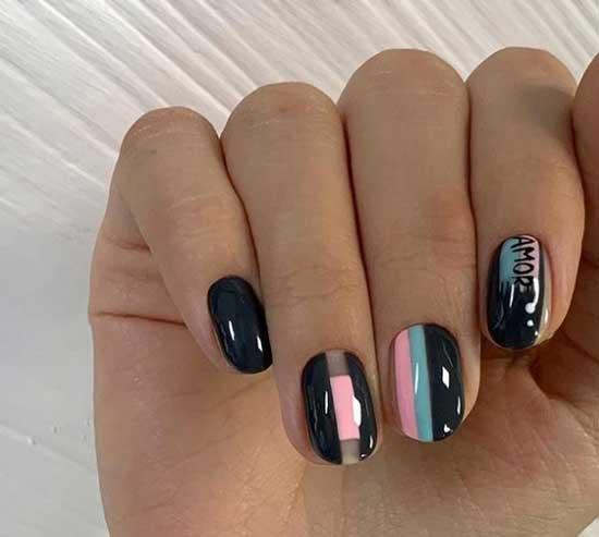 Дизайн ногтей полосками