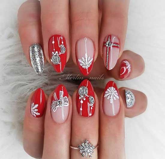 Праздничный дизайн ногтей с полосками