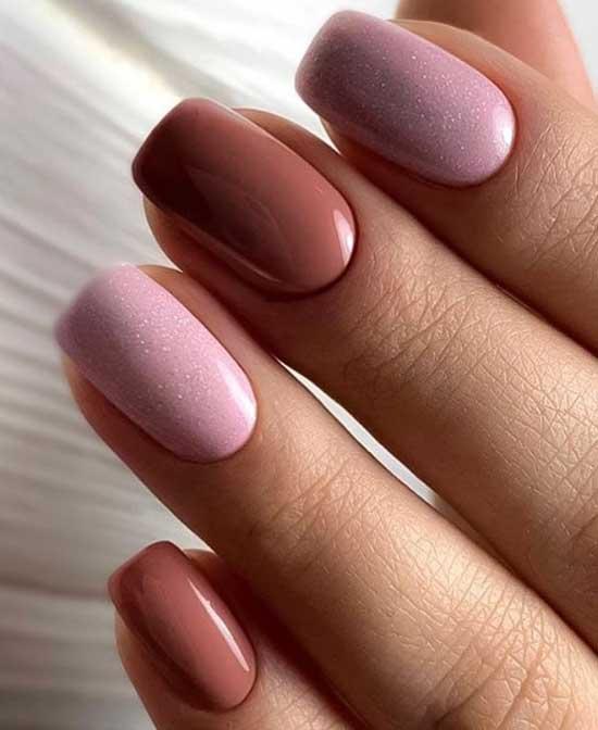 Розовый+коричневый маникюр с блестками