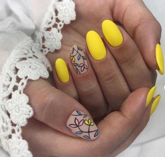 Ярко-желтый матовый маникюр на лето
