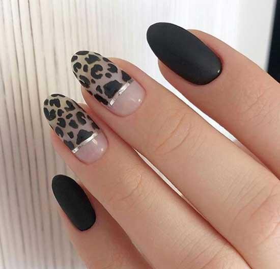 Черный матовый с леопардовым принтом