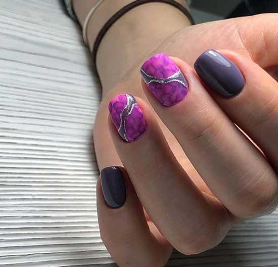Комбинированный матовый маникюр на коротких ногтях