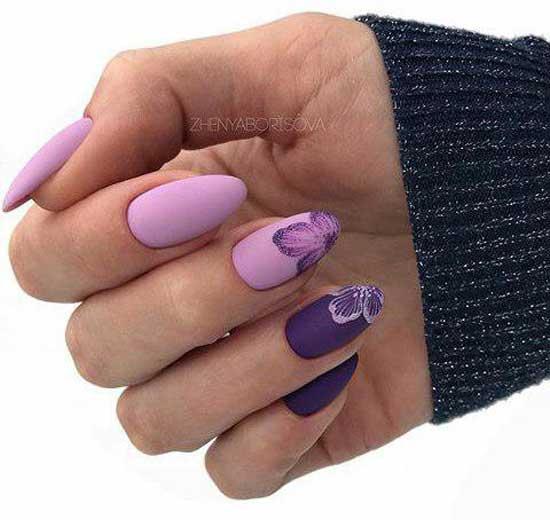 Фиолетовый цвет под матовым топом