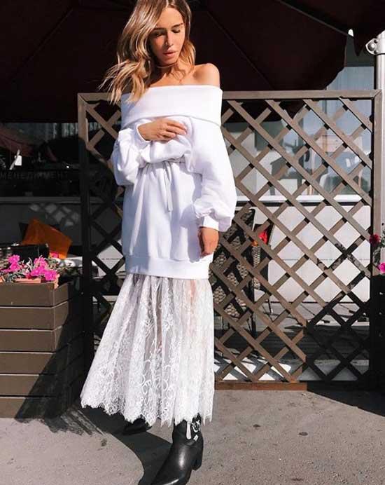 Длинная кружевная юбка