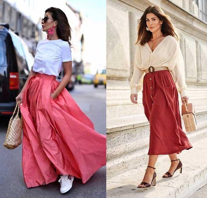 Длинные юбки на пуговицах и с карманами
