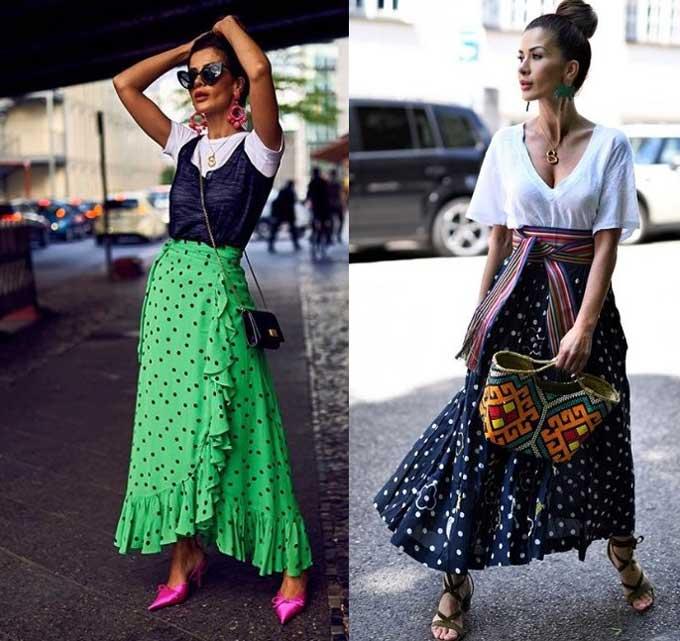 Модные длинные юбки в горошек