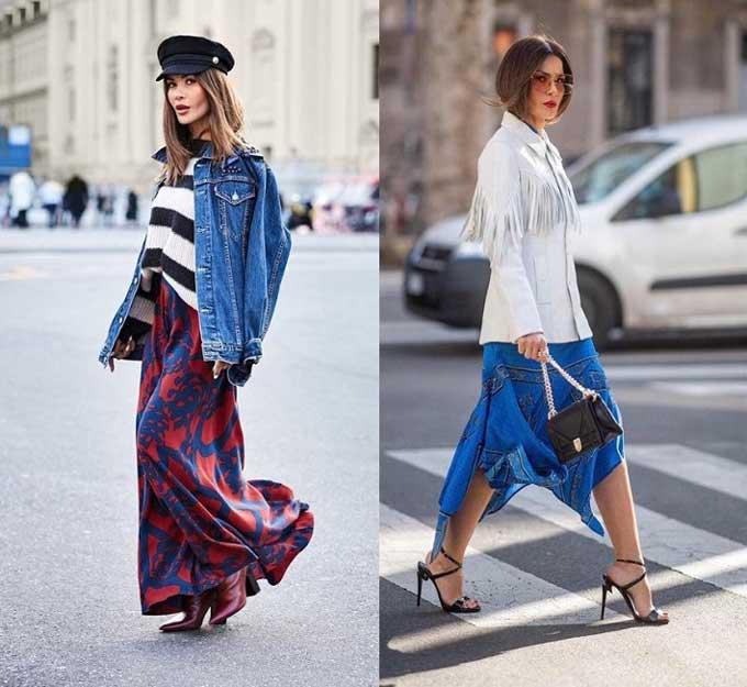 Стильные луки с длинными юбками