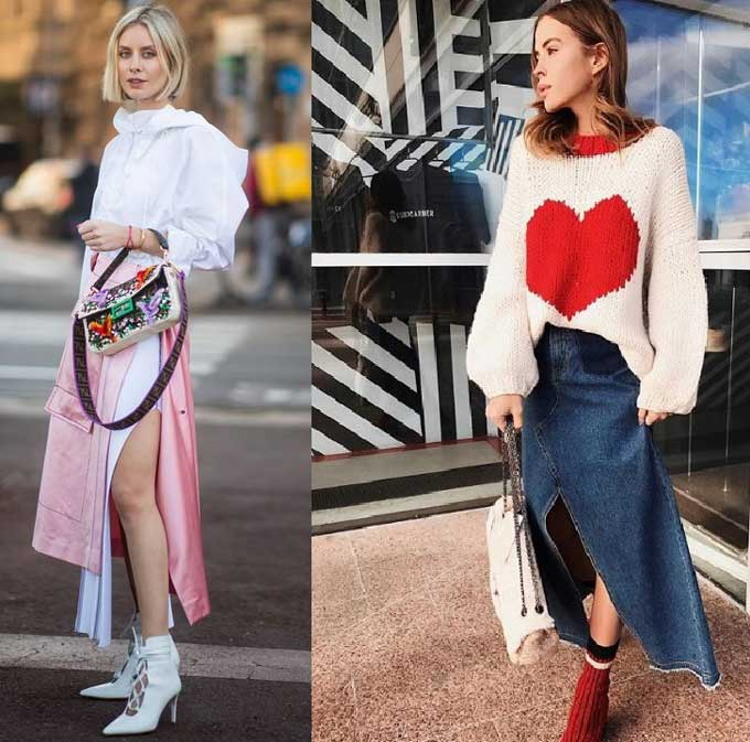 Модные длинные юбки с разрезом