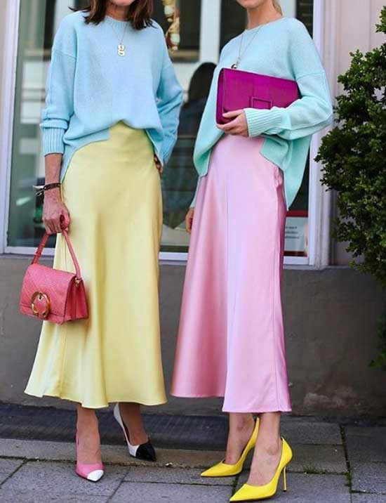 Модные длинные юбки из сатина