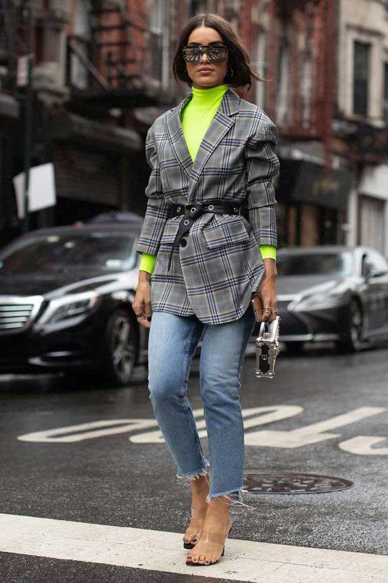 Модный пиджак в клетку