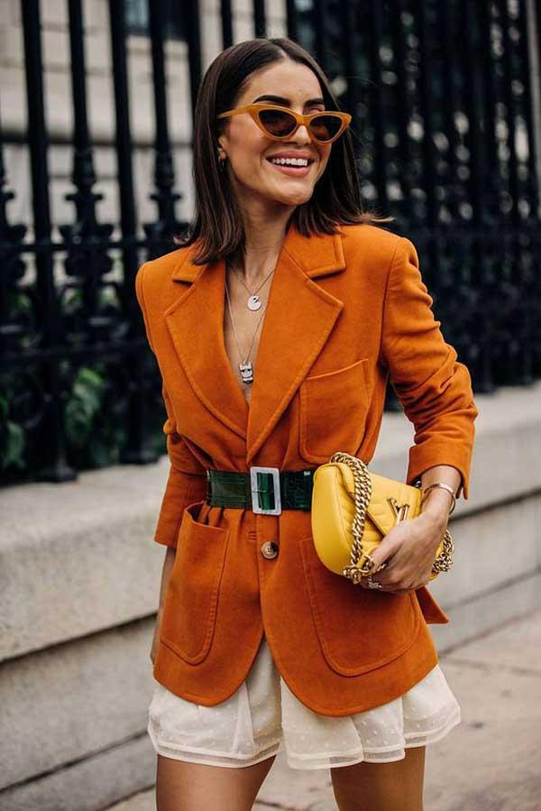 Модный оранжевый пиджак с чем носить
