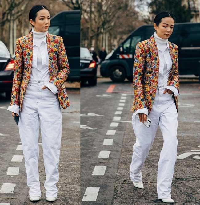 Модный пиджак в цветочный принт