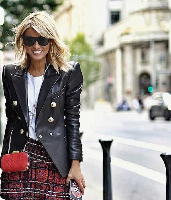 Модный кожаный пиджак с чем носить