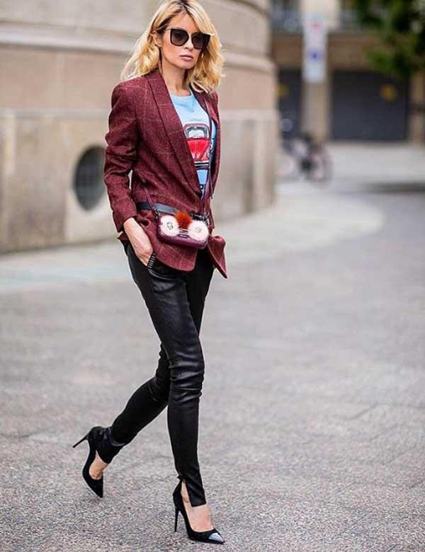 Модный женский пиджак в клетку