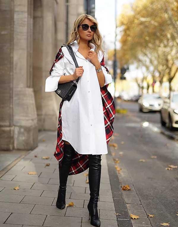 Белое платье-рубашка с чем носить