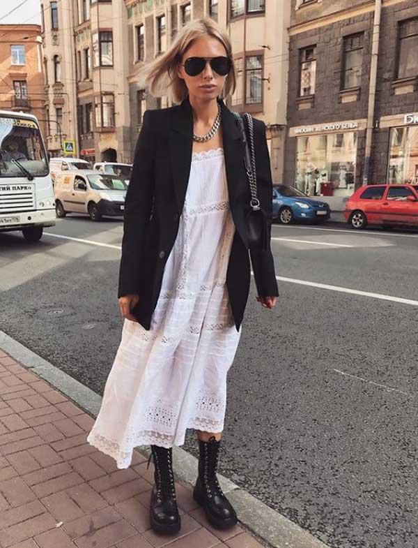 Белое платье в стиле оверсайз